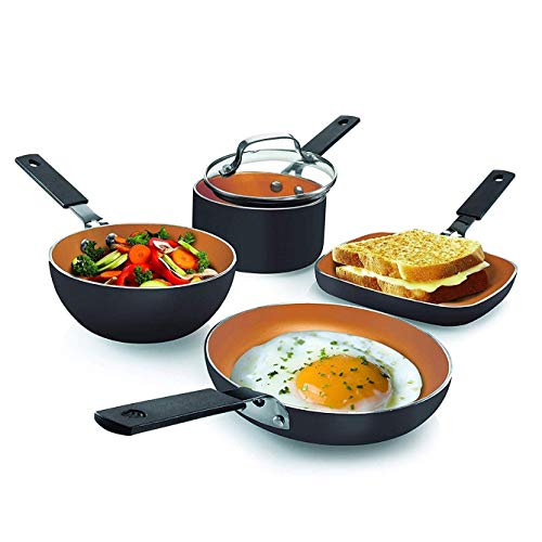 Gotham Steel Mini Stackmaster 5 Piece Cookware Set – Nonstick Personal Sized Fry Pan, Sauce Pan, Wok and Grill/Griddle Pan, Nests for Easy Storage, Dishwasher Safe