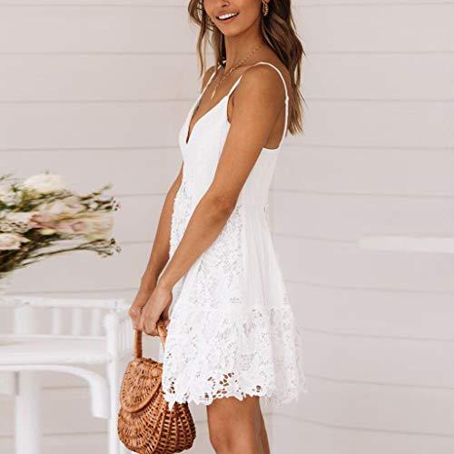 Sylar Vestidos Mujer, Sling Sling Vestido De Encaje Inclinado con Cuello En V Mini Falda Sexy Vestido De Playa Casual Suelto Otoño Verano Playa y Fiesta