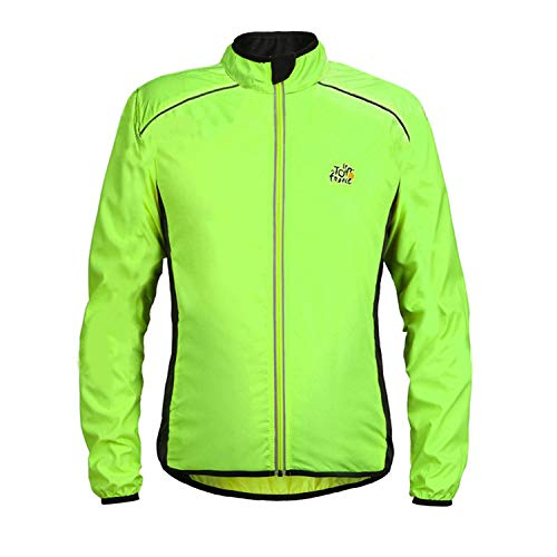 Generies Outdoor Cyclisme Windbreaker Vélo Porte Tour De France Coupe-Vent Veste De Sport De Plein Air S vert fluorescent