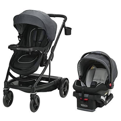 Graco Uno2Duo Travel System | Includes UNO2DUO Stroller and SnugRide SnugLock35 Infant Car Seat, Goes from Single to Double Stroller, Reece