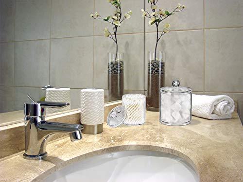 Qtip Dispenser Holder Bathroom Vanity Organizer Apothecary Jars Canister Set for Cotton Ball,Cotton Swab,Q-tips,Cotton Rounds,Bath Salts,Premium Quality Plastic Acrylic Clear   2 Pack,10 Oz. & 20 Oz.