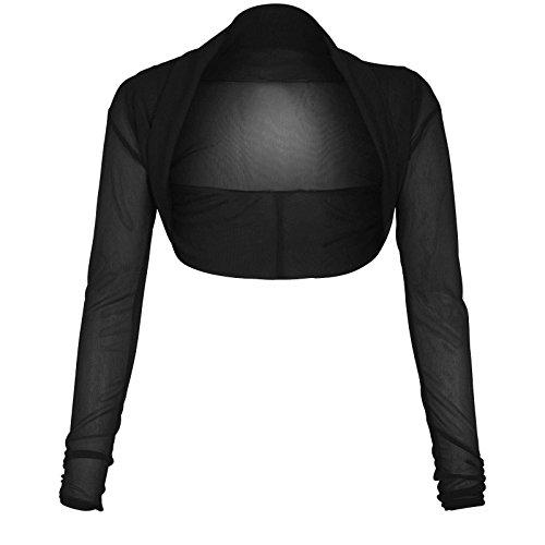 The Celebrity Fashion, Chiffon-Bolero für Damen, bauchfrei, mit Strickjacken-Oberteil Gr. 42, schwarz
