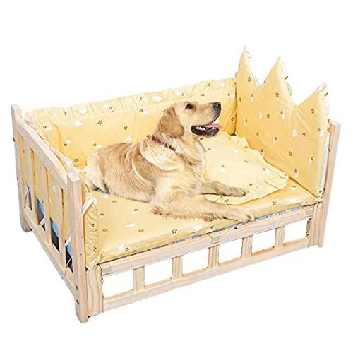 Cama para Perros Camas Elevadas para Perros, Amarillo, Sofá de Descanso Mejorado con Colchones Lavables, para Mascotas Pequeñas, Medianas y Grandes (Color : Style1, Size : S-60×38×34cm)