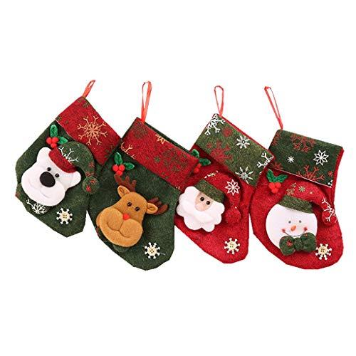H.eternal(TM) 4 calcetines de caramelo bolsa de fiesta árbol de Navidad colgante decoración 16 x 12 cm calcetines de nieve calcetines térmicos calcetines divertidos para hombre