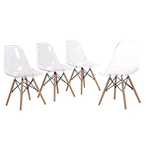 Ein Set mit 4 transparenten Freizeitstühlen, einem Esstisch für Familien und einem Stuhl mit Stahlbeinen, einem PC-Kunststoff-Esszimmerstuhl und einem Café-Esszimmerstuhl (weiß)