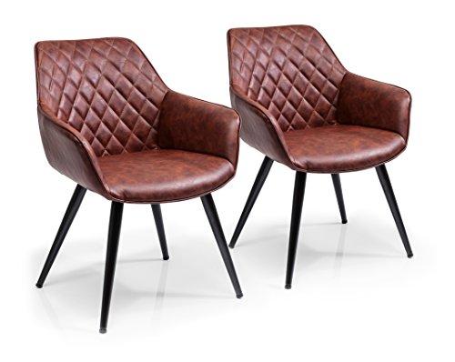 Kare Design Armlehnstuhl Harry 2er Set, gepolsterter, bequemer Esszimmerstuhl im Retro-Design, Braun (H/B/T) 84x60x63cm