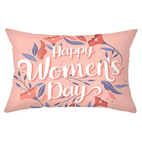 KnBoB Funda de Almohada 30 x 50 cm Poliéster Coral Púrpura Happy Women's Day con Flores Estilo 23