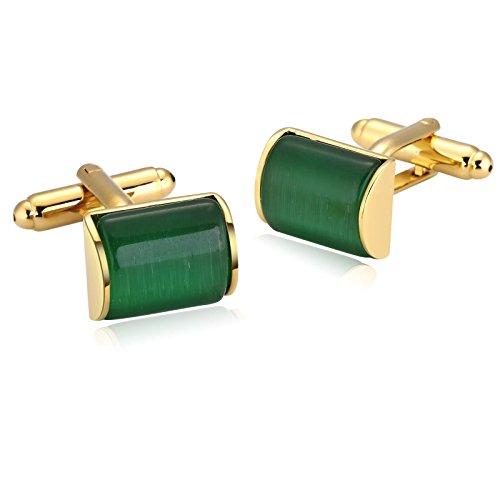 KnSam Gemelli da Polso Uomo Matrimonio Personalizzati Acciaio Inossidabile Camber Rectangle Gemelli Oro Verde 1.5X1.1Cm