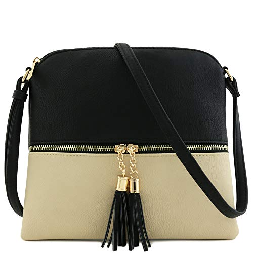 Lightweight Medium Crossbody Bag with Tassel (Black/Nude)