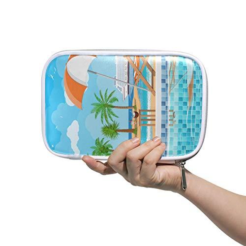 Kosmetiktasche Große Schwimmbeckenleiter Regenschirm Holzliege Stifttasche Späte Kosmetiktasche Multifunktionale Reißverschlusstasche Federmäppchen für Männer Frauen