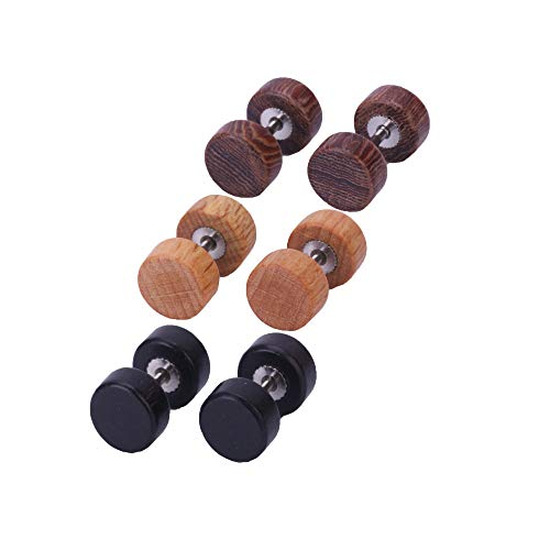 Yoodeet Earrings in Contemporary with Wooden, False Ear Stretcher Illusion of 8 mm Plug Effect Plugs 3 Pairs