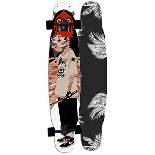 LQH Longborads Skateboards 46 Zoll Komplett Drop Down Through Deck Cruiser Pro Longboard 7 Schichten Ahorn und High Rebound PU Rollen für Carving Downhill Cruising Freestyle Reiten