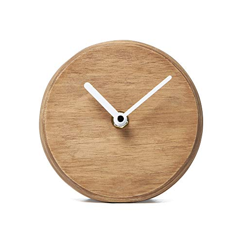 NIKKY HOME Mute Wood Color Minimalist Scale-freie Tischuhr 12,7 x 5,6 x 12,7 cm