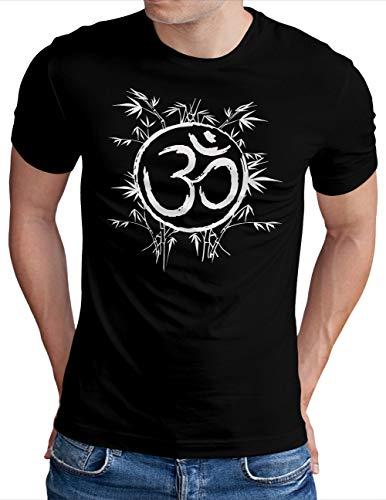 OM3® OM-Symbol-Bamboo T-Shirt   Herren   Yoga Buddha Sign Logo Budda Relax   Schwarz, S