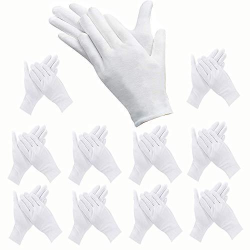 ANDSTON 12 Paar Weiße Handschuhe Baumwolle, Stoff Handschuhe Weiss, Care Baumwollhandschuhe, Bequem und Atmungsaktiv, für Hautpflege, Schmuck Untersuchen, Tägliche Arbeit usw