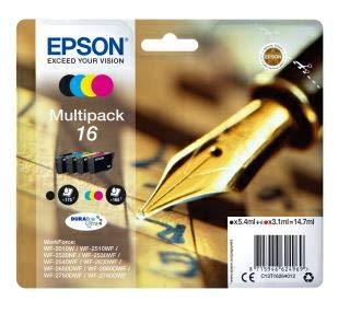 EPSON 16 C13T16264012 - Cartuchos de tinta originales (4 unidades, 5,4/3,1 ml, 175/165 páginas, 4 unidades), color negro y blanco