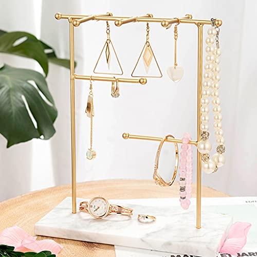 Xzbnwuviei Soporte de base de mármol, estante de exhibición de joyas, estante de almacenamiento con base de mármol, collar y cadena de soporte de metal, organizador de mesa