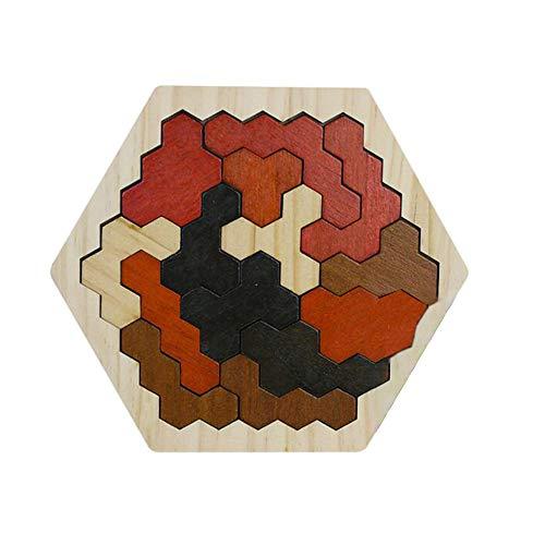 GFEU Holz Hexagon Puzzle Board für Kinder Form Block Tangram Puzzles Fun Montessori Lernspielzeug für Jungen Mädchen Alter 2+ (Braun)