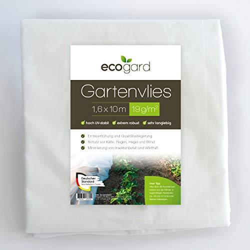 ecogard Gartenvlies | 16m² | 19g/m² | 1,6 x 10 m | Frostschutz | Ertragssteigerung | Insektenschutz