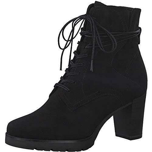 Tamaris Damen Stiefeletten, Frauen Schnürstiefelette, Women Woman Freizeit leger Boot halb-Stiefel schnür-Bootie weiblich Lady,Black,40 EU / 6.5 UK