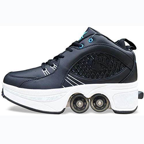GWYX Skateboard Schuhe Schlittschuhe Rollschuhe Erwachsene Skaten Wanderschuhe Vier Räder Unsichtbare Riemenscheiben Schuhe Schrumpfen Unsichtbare Verformung Wanderschuhe