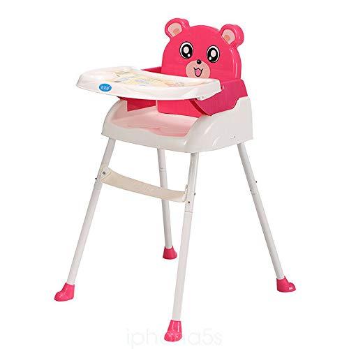 4 in 1 Baby Kinderhochstuhl, Verstellbarer Essstuhl Babystuhl Faltbar, Hochstuhl mit Tablett Sicherheitsgurt (Pink)