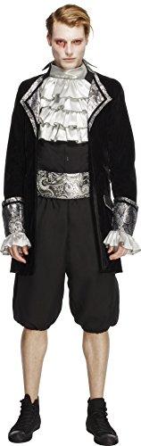 Fever, Herren Barock Vampir Kostüm, Jacke, Hose, Krawatte und Kummerbund, Größe: M, 28332