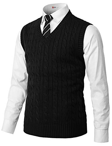 H2H Mens Casual Slim Fit Pullover Sweaters Knitted Vest Black US L/Asia XL (CMOV052)