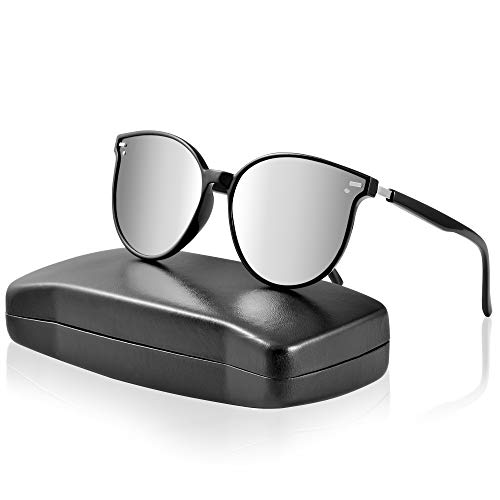 ipow Polarisierte Retro Vintage Katzenauge Sonnenbrille für Damen Herren verspiegelt 400 UV Sonnenschutz - Silbergrau