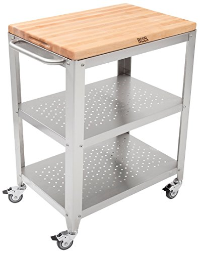 John Boos Block Culinarte Stainless Steel Kitchen Cart with 30 by 20 Inch Removable Maple Cutting Board Top Stainless Steel Shelves and Casters