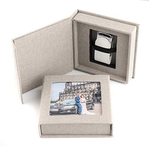 codiarts. USB 3.0 Stick 16GB in Eleganter USB-Box mit Bildfenster, für Hochzeit, Fotografen, Urlaubserinnerungen, Geschenk (Grau)
