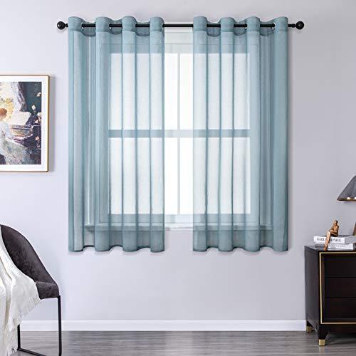 MRTREES Cortina para Ventana Dormitorio Translúcidas Visillos Paneles para Ventanas Sala para Niños Sala Comedor 2 Piezas 140×175cm Azul Oscuro