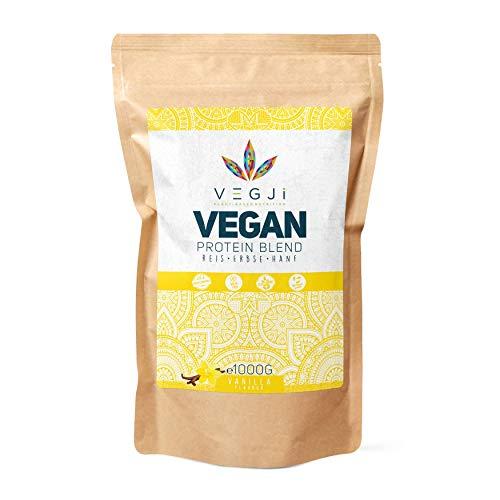 VEGJi Vegan Protein Blend 1000g | Erbsen-, Reis- & Hanfprotein | Hoher Proteingehalt | Natürliche Zutaten | Mit Stevia-Extrakt gesüßt (Vanille)