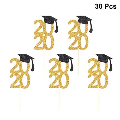 Amosfun 30 Piezas 2020 Graduación Cake Toppers Glitter Graduation Cap Cupcake Toppers Cake Picks 2020 Felicitaciones Decoraciones para Fiestas de Graduación Suministros para Fiestas de Cumpleaños