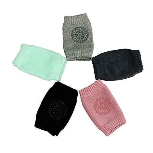 HBF 5 Paar Stulpen Knieschoner mit Gummipunkte anti-Rutsch für Baby Mädchen oder Jung Krabbelschoner Krabbelhilfe Knieschützer (0-bis 2 Jahre)