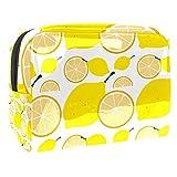 Kit de Maquillaje Limón Amarillo Neceser Makeup Bolso de Cosméticos Portable Organizador Maletín para Maquillaje Maleta de Makeup Profesional 18.5x7.5x13cm