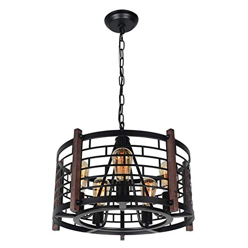 Beuhouz Round Farmhouse Chandelier Lighting Black Metal And Wood Drum Pendant Light Fixture Industrial Rustic Cage Chandelier For Dining Room 5 Lights Edison E26 8018 Buy Online In Gibraltar At Desertcart