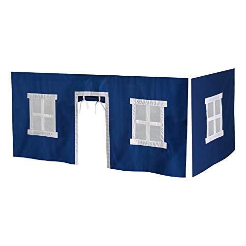 Max & Lily Cotton Underbed Curtains, Blue & White