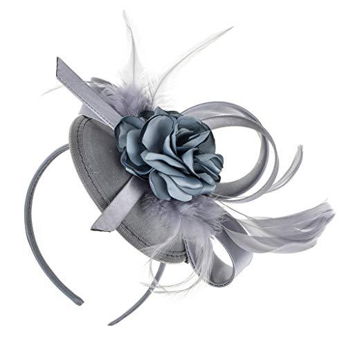 planuuik Femmes Élégant Plume Fleur Top Chapeau Cap Bandeau Pince À Cheveux pour Le Mariage Festival De Mariée Parti Banquet Cheveux Accessoires Décoratifs
