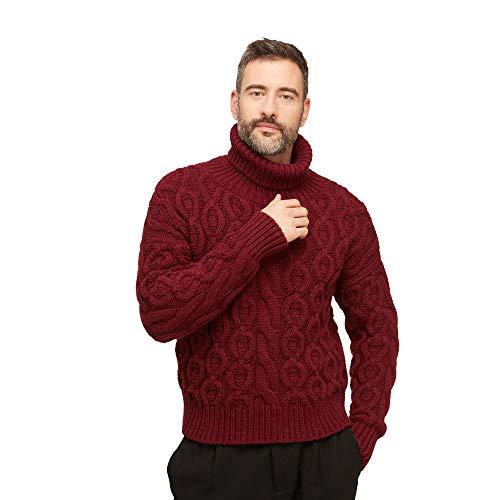 Pullovers heren trui coltrui van wolmix kleur rood bordeaux