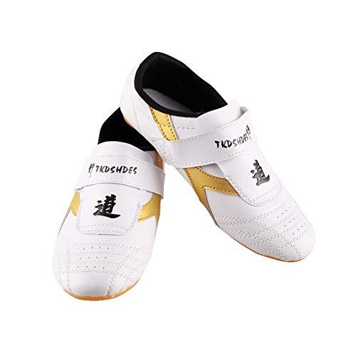 Dilwe Zapatos de Taekwondo Zapatos de Suela Suave de Cuero de PU para Ejercicio de Gimnasio Taichi Entrenamiento(37)
