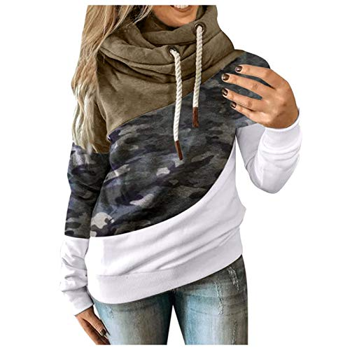 Frauen Lange Ärmel Kordelzug gefalteter Kragen, um warm zu halten Lässig locker...
