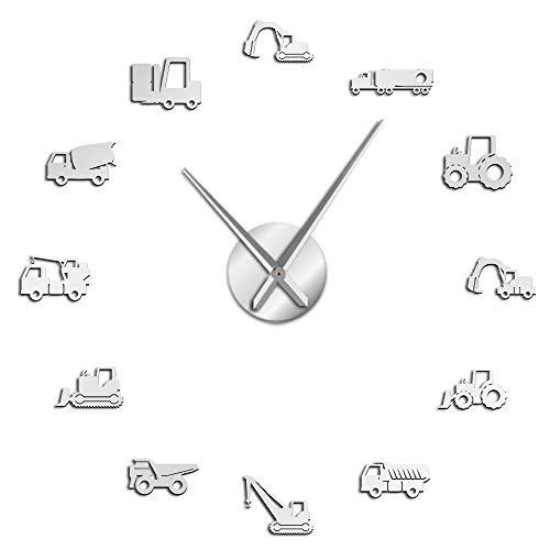Operador De Equipo Pesado Máquina Súper Grande DIY Reloj De Pared Sin Marco Vehículo Scoo Reloj Grande Definido por El Usuario Zar Excavadora-Plata-47 Pulgadas