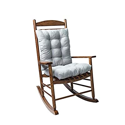 Rocking Chair Cushion Set,2 Piece Non-Slip Seat/Back Chair Cushion Indoor/Outdoor Soft Thickened Patio Chaise Lounger Cushion Overstuffed Patio Chair Pads ?Chair not Included?(Gray)