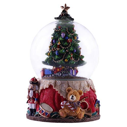 VOSAREA Weihnachten Schneekugel mit Musik Weihnachtsbaum Nussknacker Soldat Schneewirbel Glitzerkugel Schüttelkugel Schneeball Snow Globe Traumkugel Tischdeko Kinder Geschenk