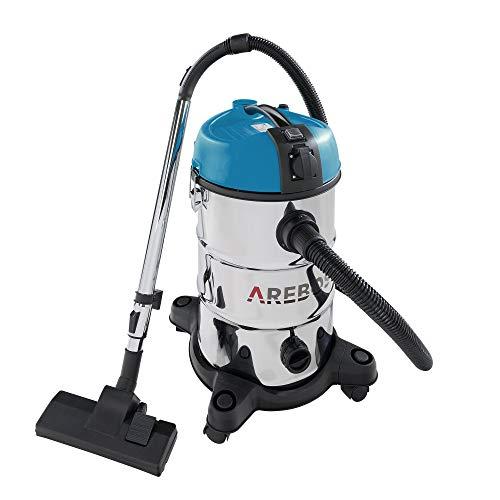 Arebos Industriestaubsauger- Blau/ 30L Fassungsvermögen/ 2300W/ Mit zusätzlicher Steckdose/Ausblasfunktion/Idealer nass trocken Staubsauger auch zum Asche saugen