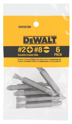 DEWALT DW2024B6 No. 2 Phillips/No. 8 Slotted Double Ended Bit, 6-Pack