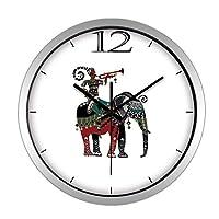 家の装飾モダンなレトロな壁時計象のパターンミュートラウンドバーリビングルーム寝室の壁の装飾シンプルなアート壁時計(色:白、サイズ:12インチ)