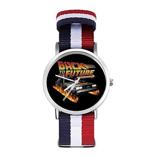 Delorean Count Down Back to The Future Freizeit-Armbanduhr, geflochtene Uhr mit Skala