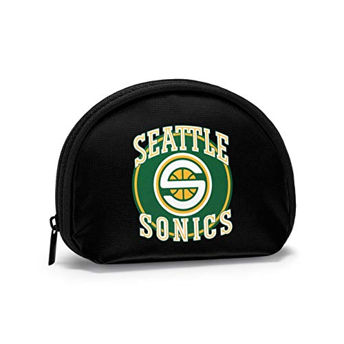 Classic Seattle Supersonics Women Portable Coin Purse Zippered Change Pouch Wallet Shell Storage Bags